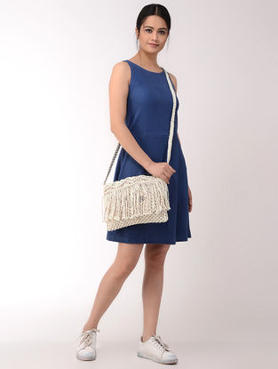 Cream Macrame Cotton Sling Bag with Fringes