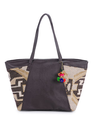 Brown Cotton-Jaquard Tote with Pom Poms