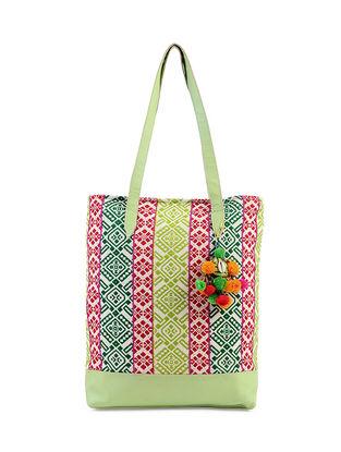 Green-Multicolored Jacquard Cotton Tote with Pom Poms