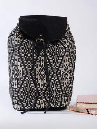 Black Jacquard Cotton Backpack