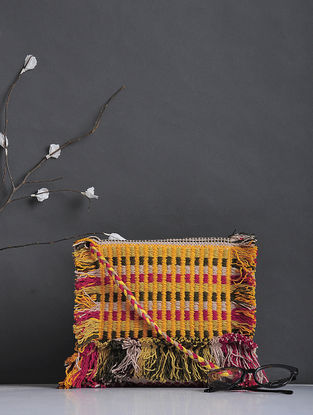 Multicolored Handcrafted Woven Cotton Sling Bag with Fringes
