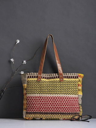 Beige-Yellow Thread-Embroidered Woven Cotton Tote