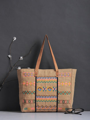 Beige-Multicolored Thread-Embroidered Jute Tote