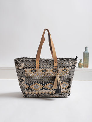 Black-Beige Embellished Cotton Tote with Tassels