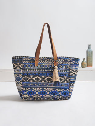 Black-Blue Embellished Cotton Tote with Tassels