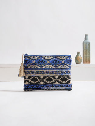Blue-Black Embellished Cotton Pouch with Tassels