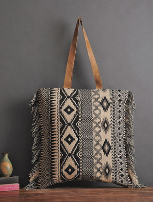 Black-Beige Handcrafted Woven Cotton Tote with Fringes
