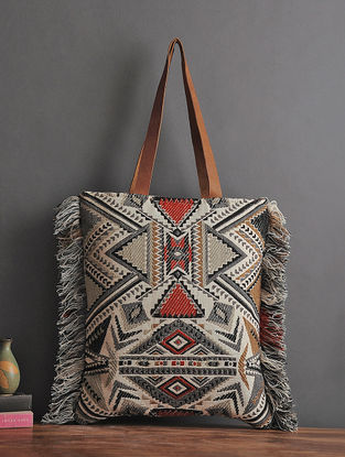 Black-Multicolored Handcrafted Woven Cotton Tote with Fringes