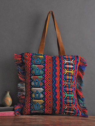 Multicolored Handcrafted Woven Cotton Tote with Fringes
