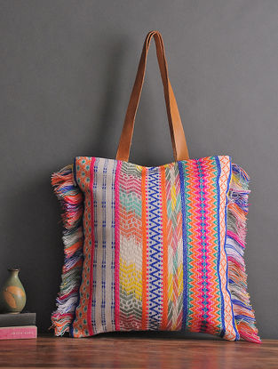 Cream-Multicolored Handcrafted Woven Cotton Tote with Fringes