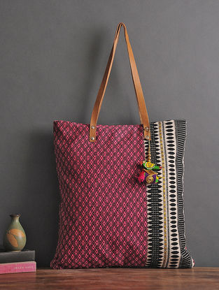 Purple-Black Handcrafted Jacquard Cotton Tote with Tassels