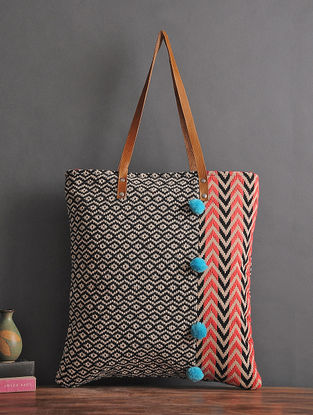 Black-Pink Handcrafted Jacquard Cotton Tote with Pom-poms