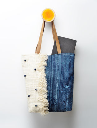 Indigo Handcrafted Denim and Cotton Slub Tote with Beads