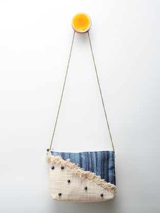 Indigo Handcrafted Denim and Cotton Slub Sling Bag with Beads