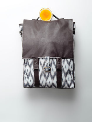 Grey-Brown Handcrafted Ikat Cotton Bag