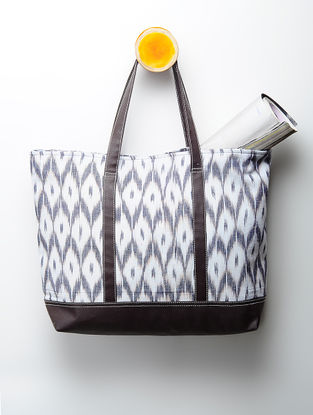 White-Grey Handcrafted Ikat Cotton Tote