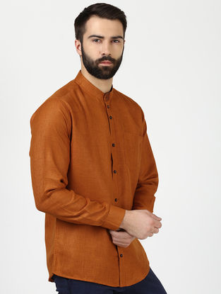 Orange Full Sleeve Khadi Shirt with Chikankari
