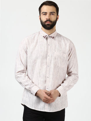 Off White Full Sleeve Khadi Shirt with Chikankari