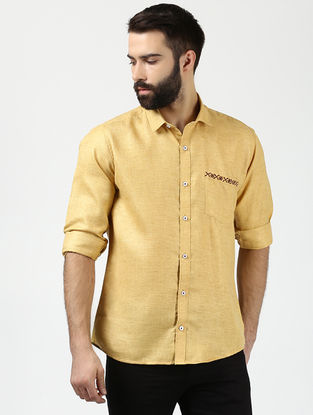 Yellow Full Sleeve Khadi Shirt with Chikankari
