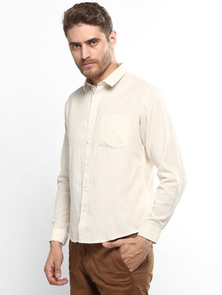 Cream Full Sleeve Khadi Shirt with Chikankari