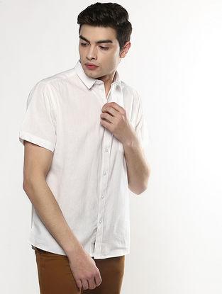 White Half Sleeve Khadi Shirt with Chikankari