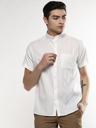 White Half Sleeve Khadi Shirt with Chikankari