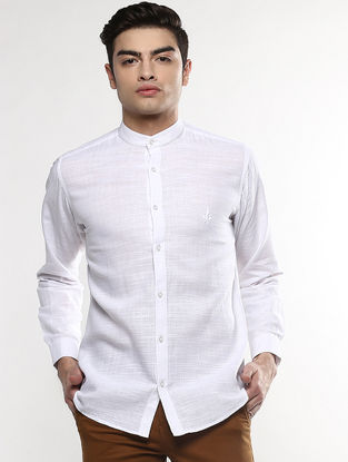 White Full Sleeve Khadi Shirt with Chikankari