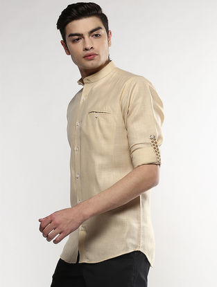 Beige Full Sleeve Khadi Shirt with Chikankari