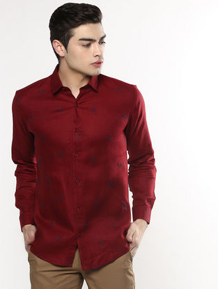 Maroon Full Sleeve Khadi Shirt with Chikankari