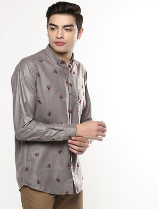 Grey Full Sleeve Khadi Shirt with Chikankari