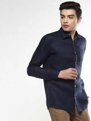Blue Full Sleeve Khadi Shirt with Chikankari