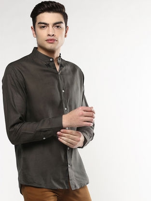 Black Full Sleeve Khadi Shirt with Chikankari