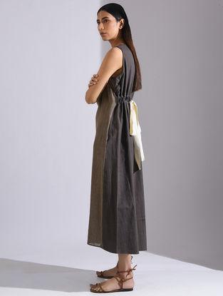 Grey-Beige Striped Khadi Dress