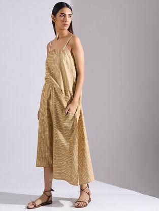 Beige Matka Silk Dress