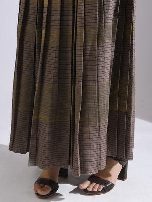 Brown Elasticated Waist Kota Silk-Khadi Skirt with Zari Work