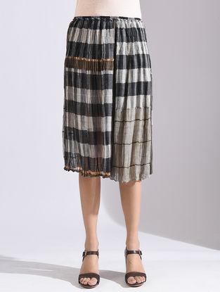 Ecru-Grey Elasticated Waist Kota Silk Skirt