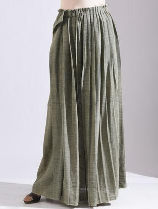 Green Striped Elasticated Waist Khadi Skirt
