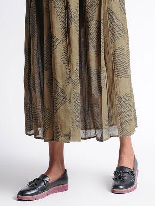 Olive Shibori Organic Cotton Skirt