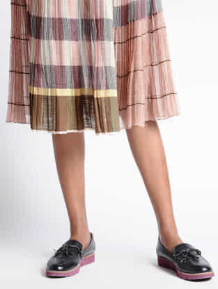 Grey-Coral Kota Silk Skirt