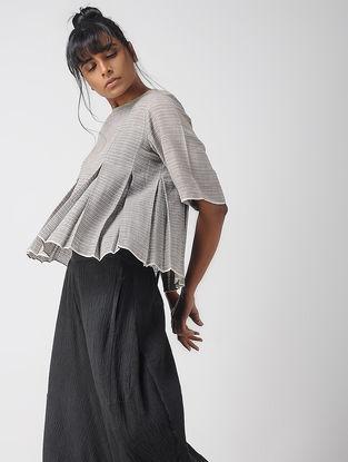 Grey Box-pleated Handwoven Organic Cotton Top