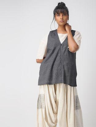 Grey Handwoven Cotton-Linen Silk Jersey Top