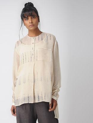 Ecru Handwoven Cotton Silk Top