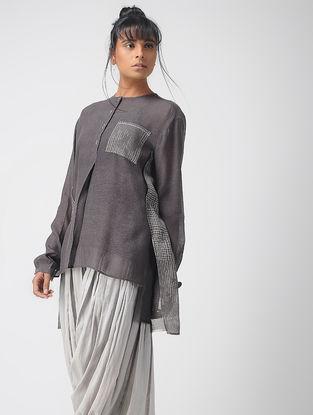Grey Block-printed Handwoven Silk Top