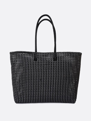 Black-Silver Recycled Plastic Weave Tote