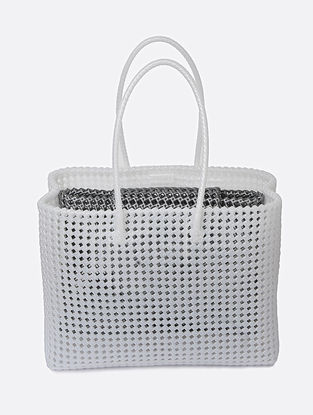 White-Silver Recycled Plastic Weave Tote