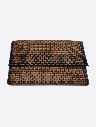 Golden-Black Recycled Plastic Weave Clutch