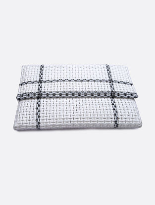 White-Silver Recycled Plastic Weave Clutch