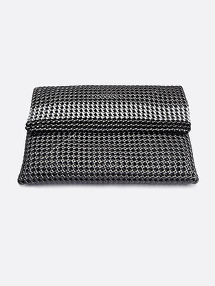Silver-White Recycled Plastic Weave Clutch