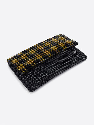Black-Golden Recycled Plastic Weave Clutch