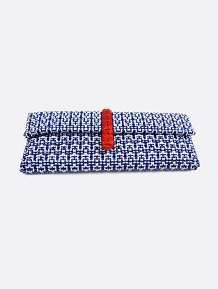 Blue-White Recycled Plastic Weave Clutch
